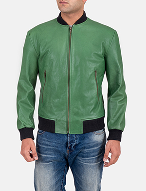 Mens Shane Green Bomber Jacket