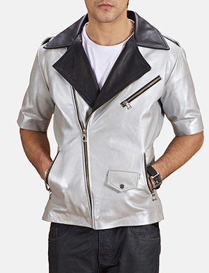 Mens Celestone Silver Black Leather Biker Jacket