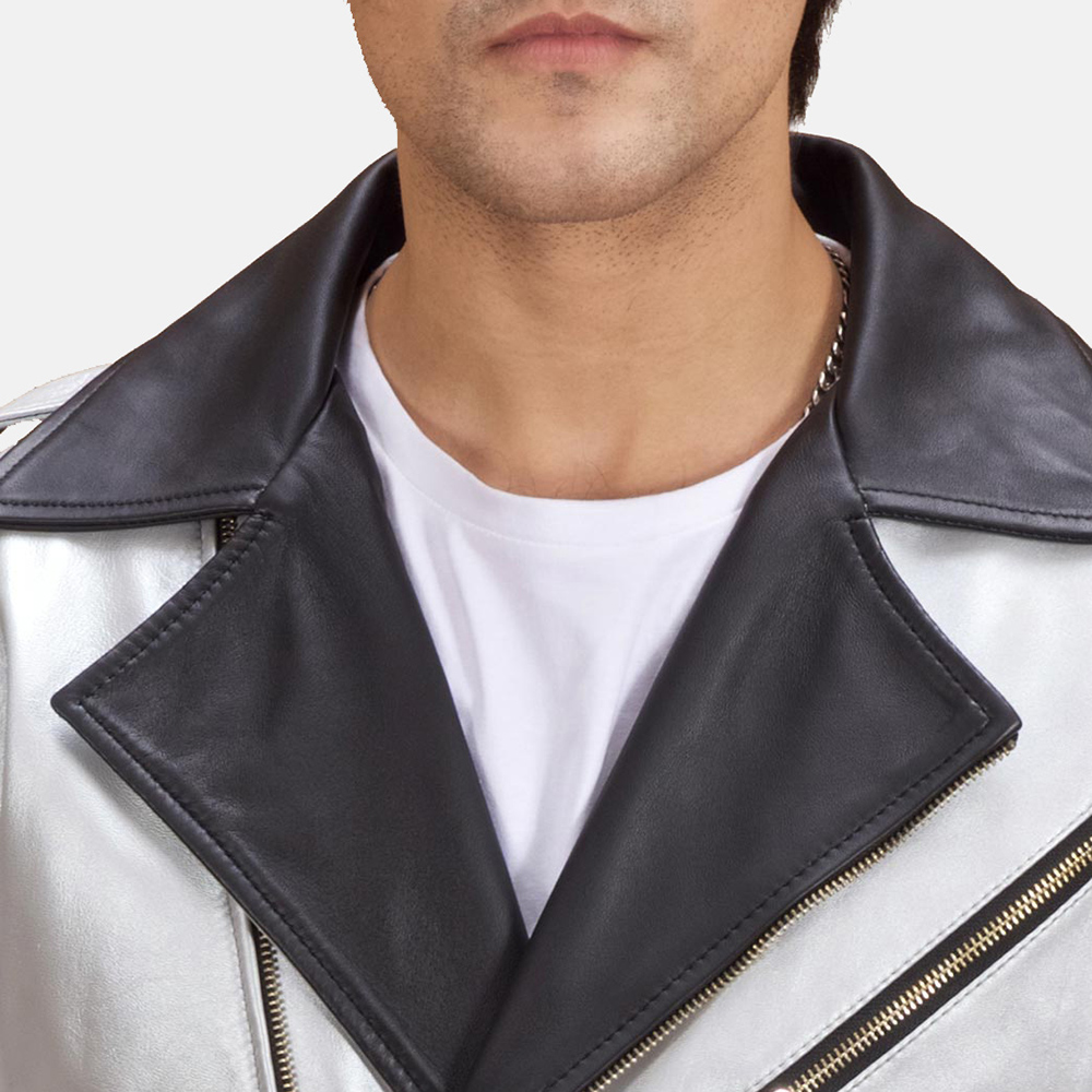 Mens Celestone Silver Black Leather Biker Jacket 5
