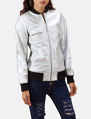 Lana Silver Leather Bomber Jacket