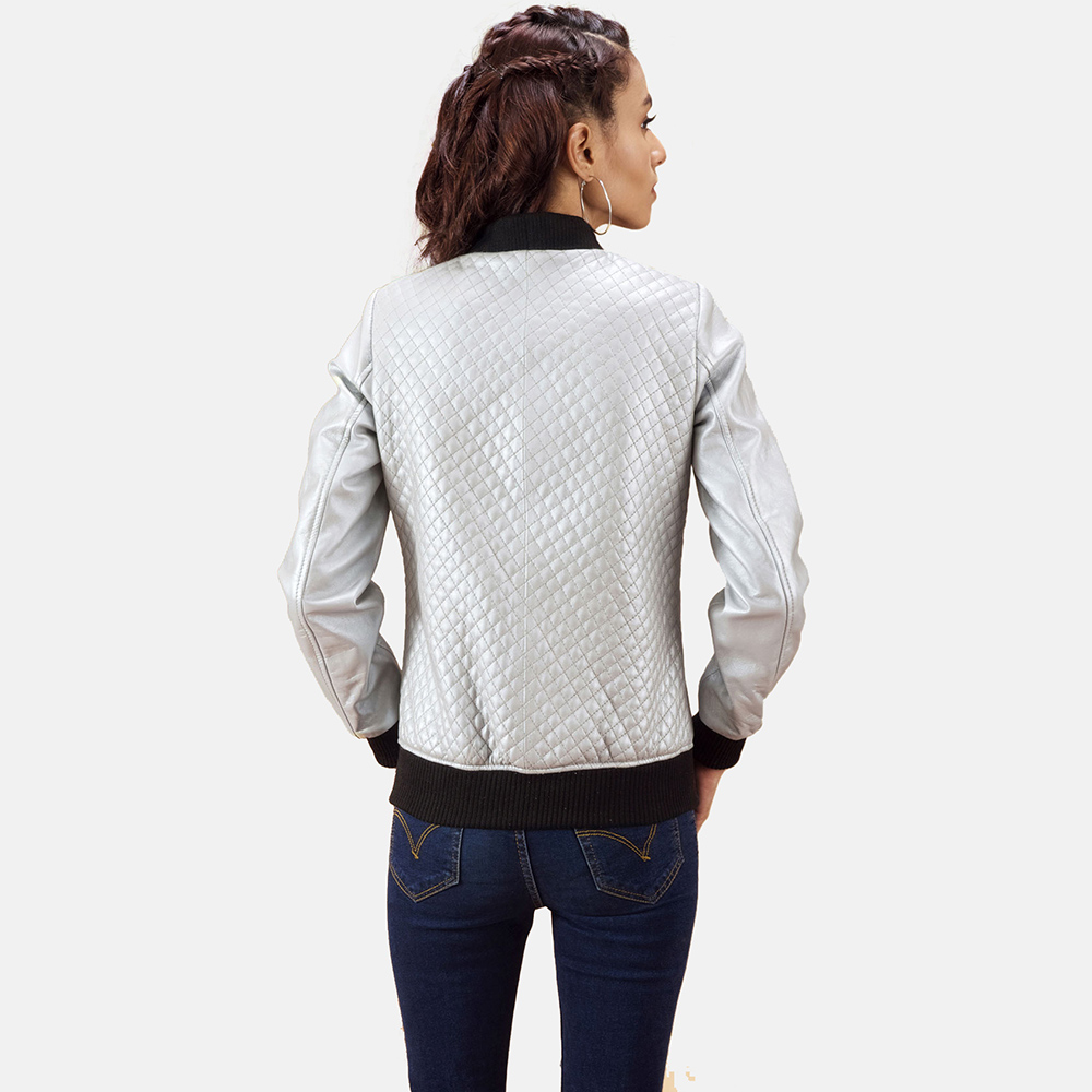 Womens Lana Silver Leather Bomber Jacket 4