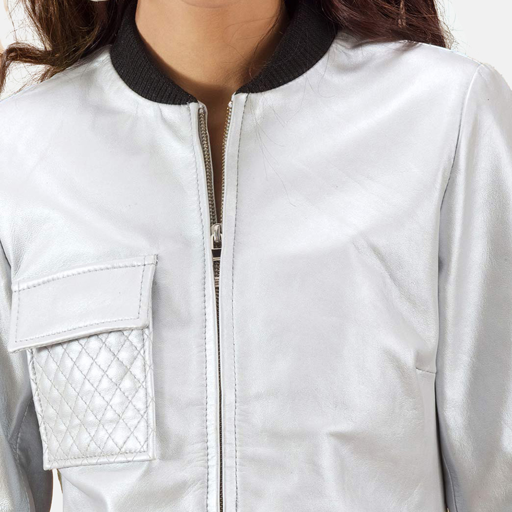 Womens Lana Silver Leather Bomber Jacket 6