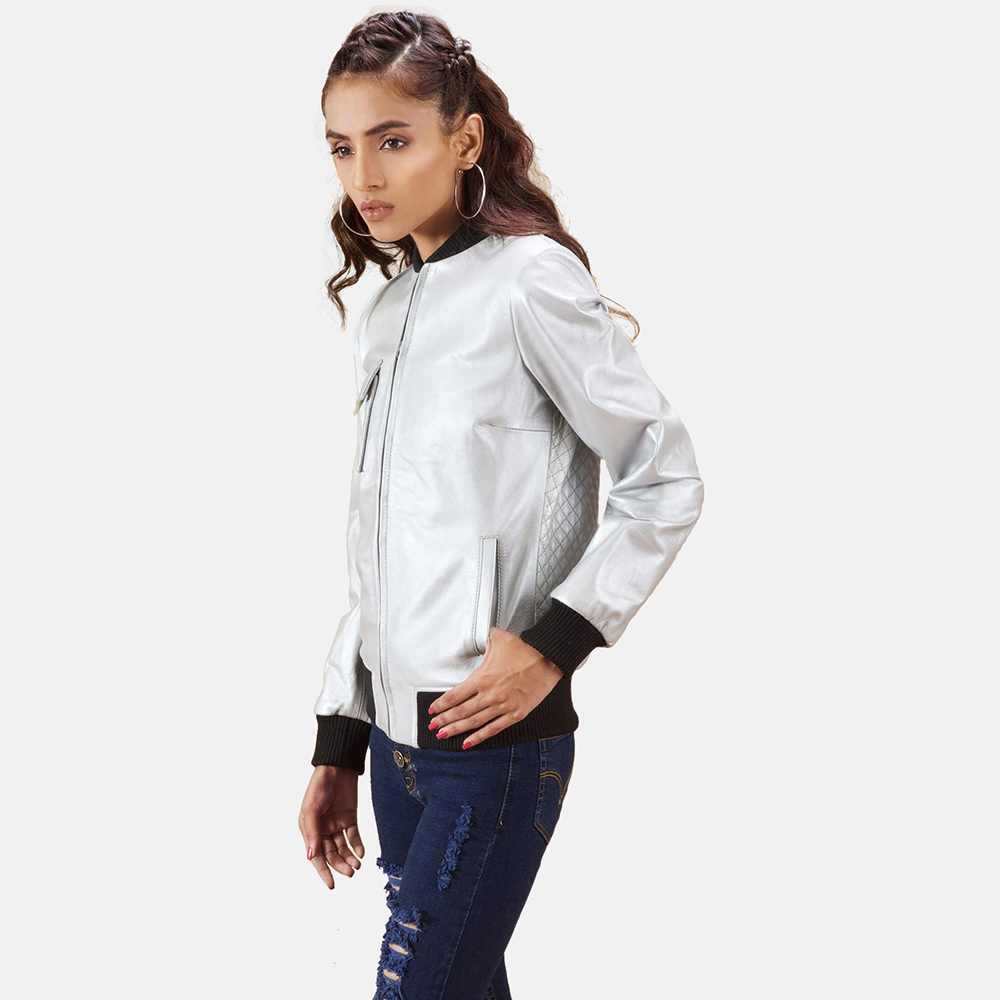 Womens Lana Silver Leather Bomber Jacket 3
