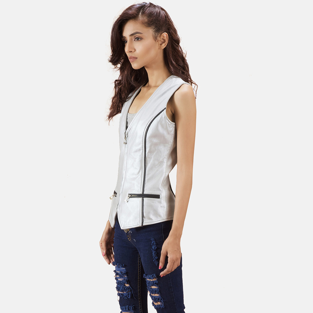 Womens Misfit  Metallic Silver Leather Vest 3
