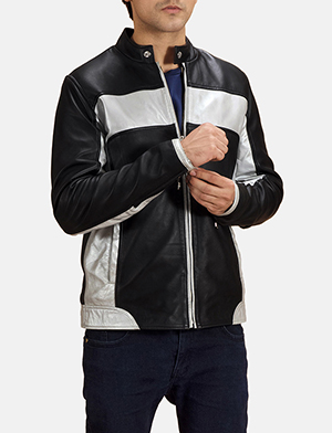 Mens Randolf Silver Black Leather Biker Jacket