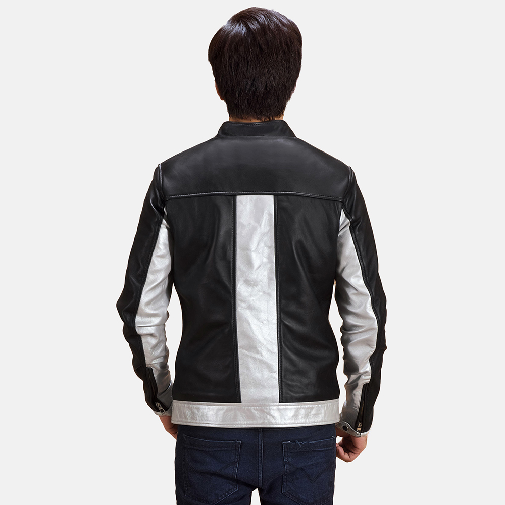 Mens Randolf Silver Black Leather Biker Jacket 5