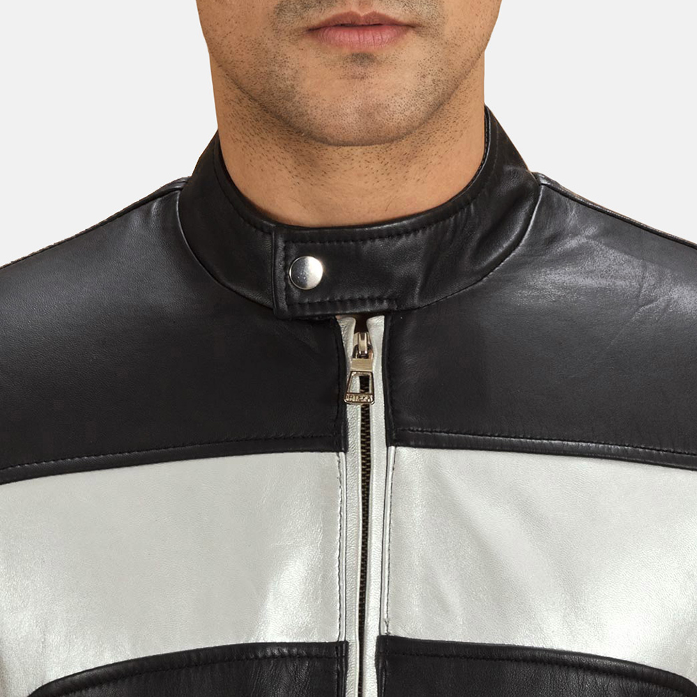 Mens Randolf Silver Black Leather Biker Jacket 6