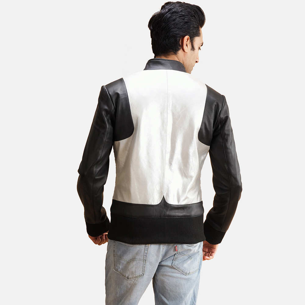 Mens Texan Silver Black Leather Bomber Jacket 3