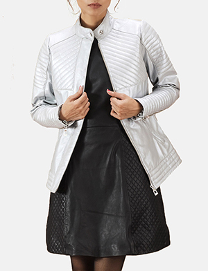 Womens Ice Maiden Silver Quilted Leather Biker Jacket