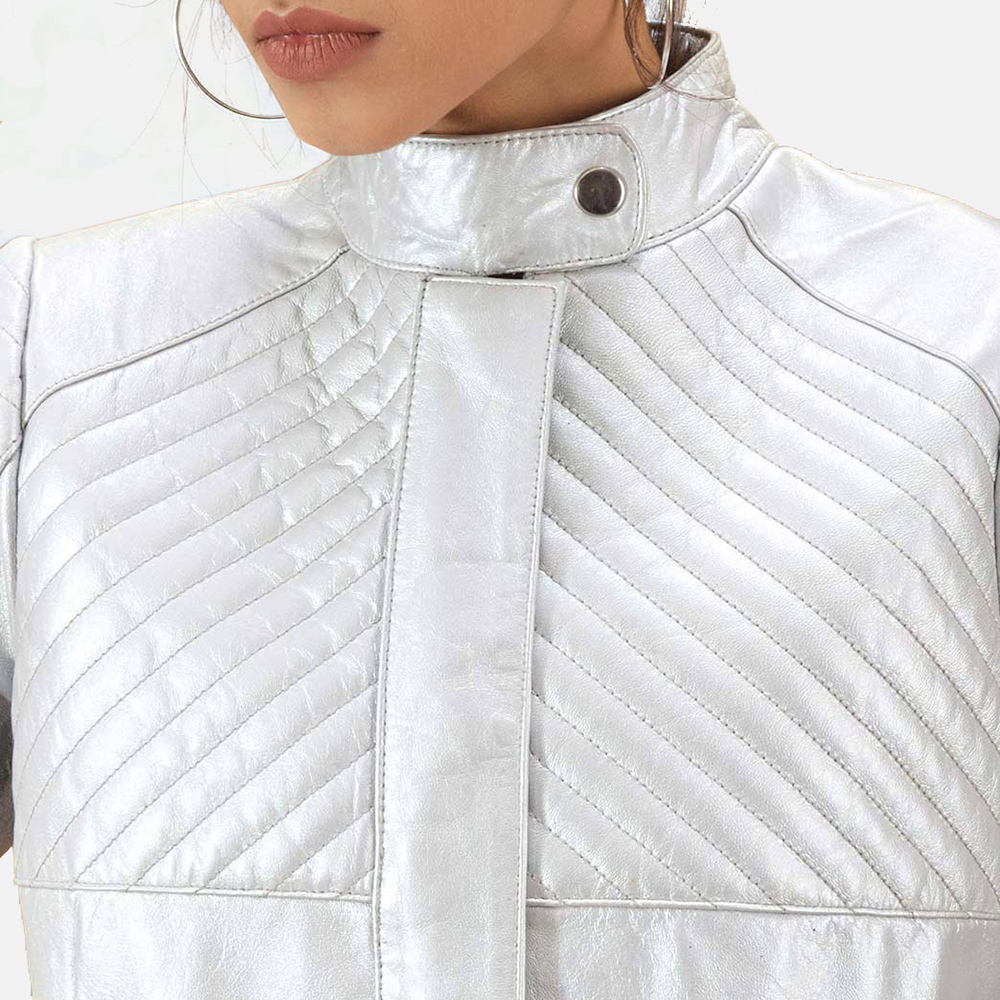 Womens Ice Maiden Silver Quilted Leather Biker Jacket 4