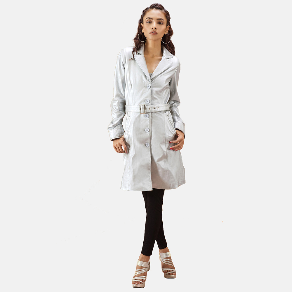 Womens Moonlight Silver Leather Trench Coat 1