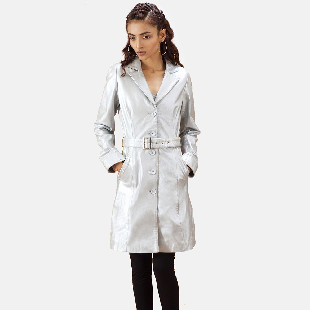 Womens Moonlight Silver Leather Trench Coat 2