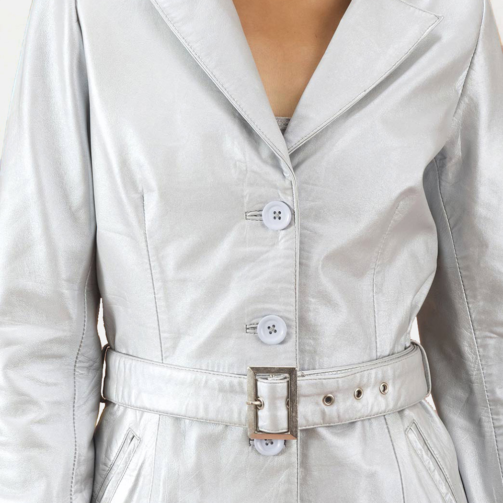 Womens Moonlight Silver Leather Trench Coat 5