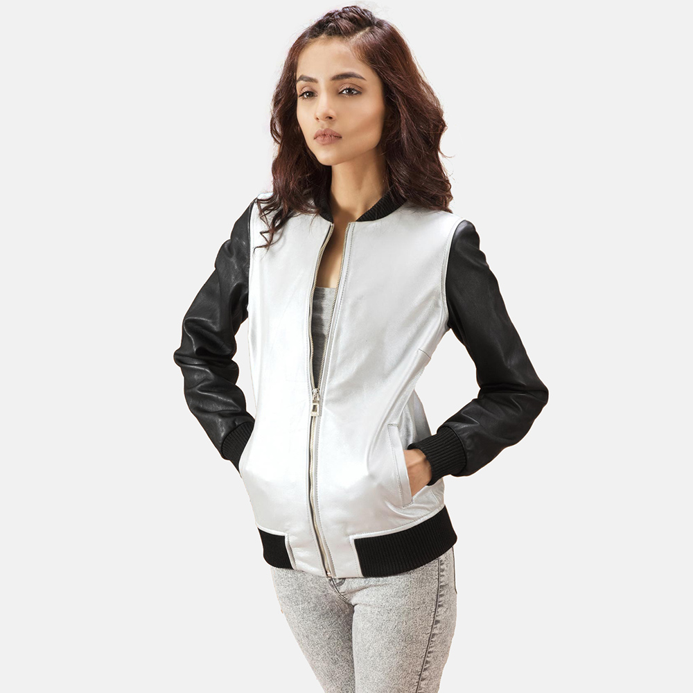 Womens Cole  Silver Leather Bomber Jacket 2