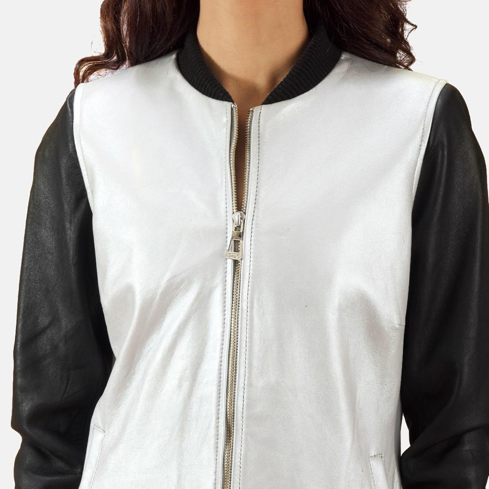 Womens Cole  Silver Leather Bomber Jacket 4