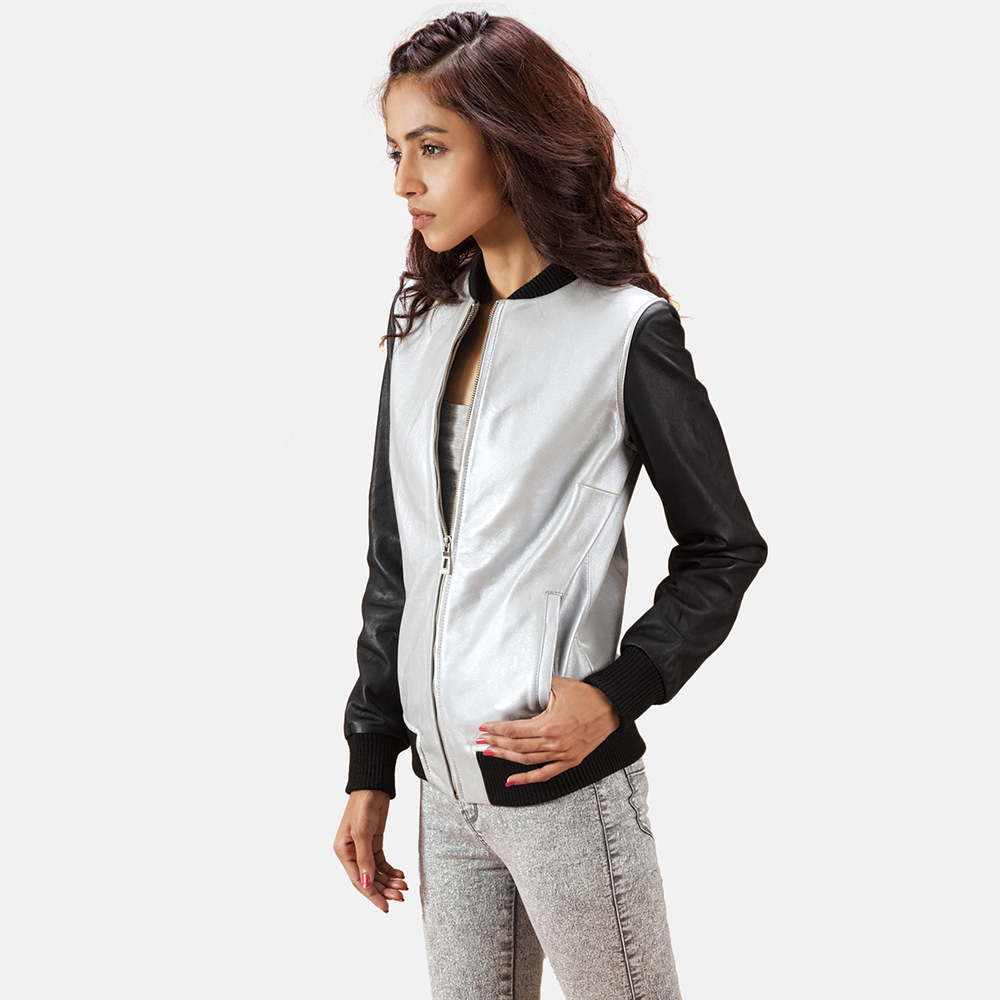 Womens Cole  Silver Leather Bomber Jacket 6
