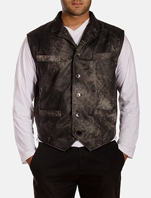 Mens Solaride Distressed Leather Vest