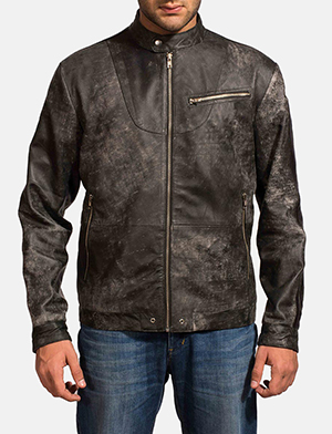 Mens Chalky Black Leather Jacket