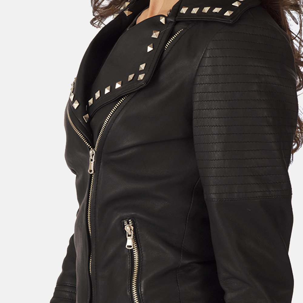 Womens Sally Mae Studded Black Leather Biker Jacket 5