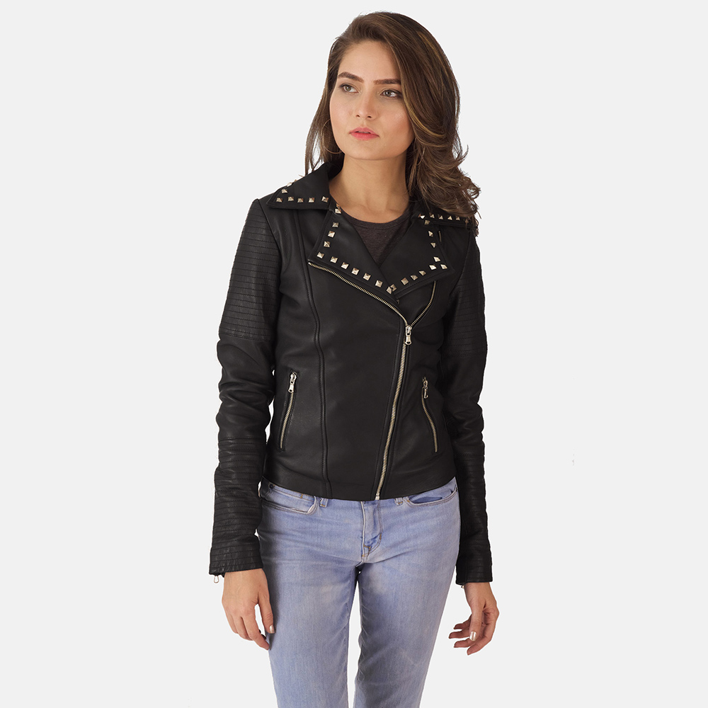 Womens Sally Mae Studded Black Leather Biker Jacket 6