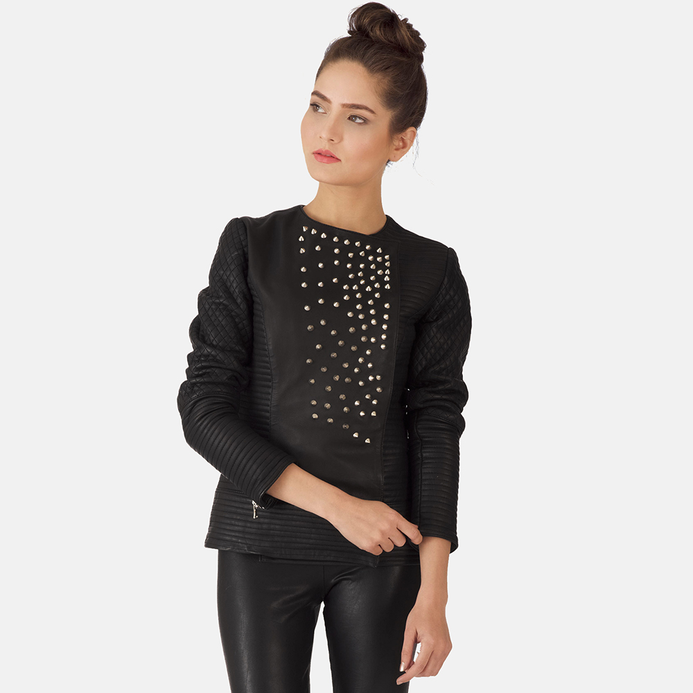 Womens Celeste Studded Black Leather Jacket 3