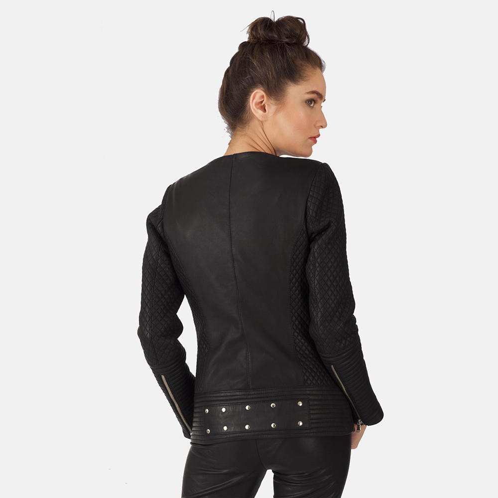 Womens Celeste Studded Black Leather Jacket 4