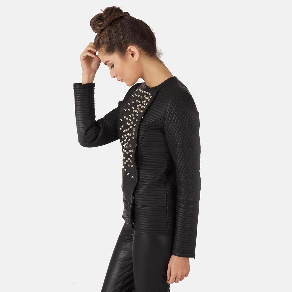 Womens Celeste Studded Black Leather Jacket 5