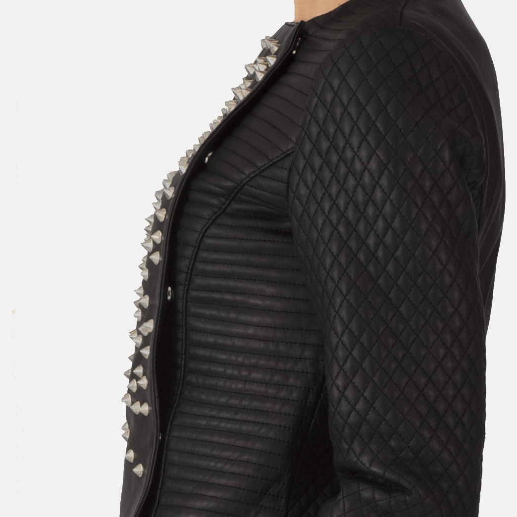 Womens Celeste Studded Black Leather Jacket 7