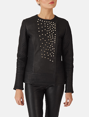Womens Celeste Studded Black Leather Jacket