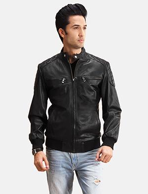 Mens Sven Black Leather Bomber Jacket