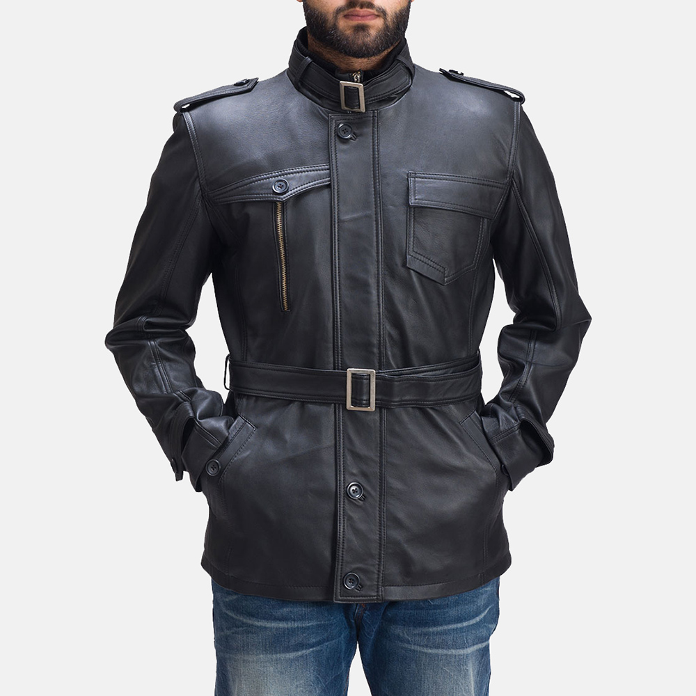 Mens Hunter Black Leather Jacket 6