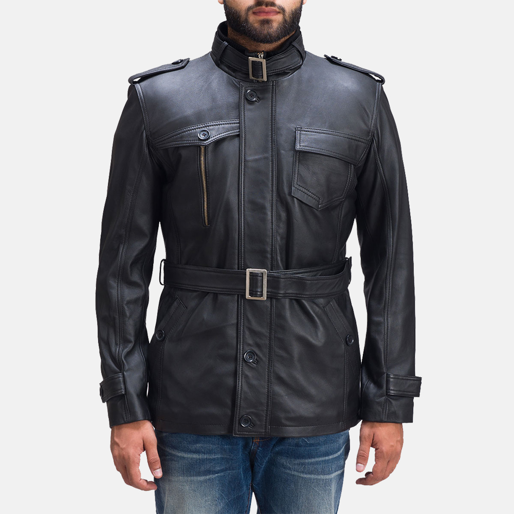 Mens Hunter Black Leather Jacket 1