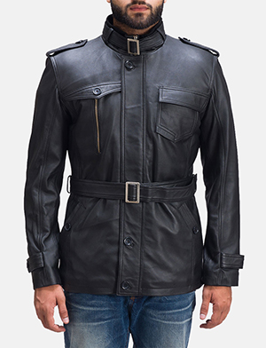 Mens Hunter Black Leather Jacket