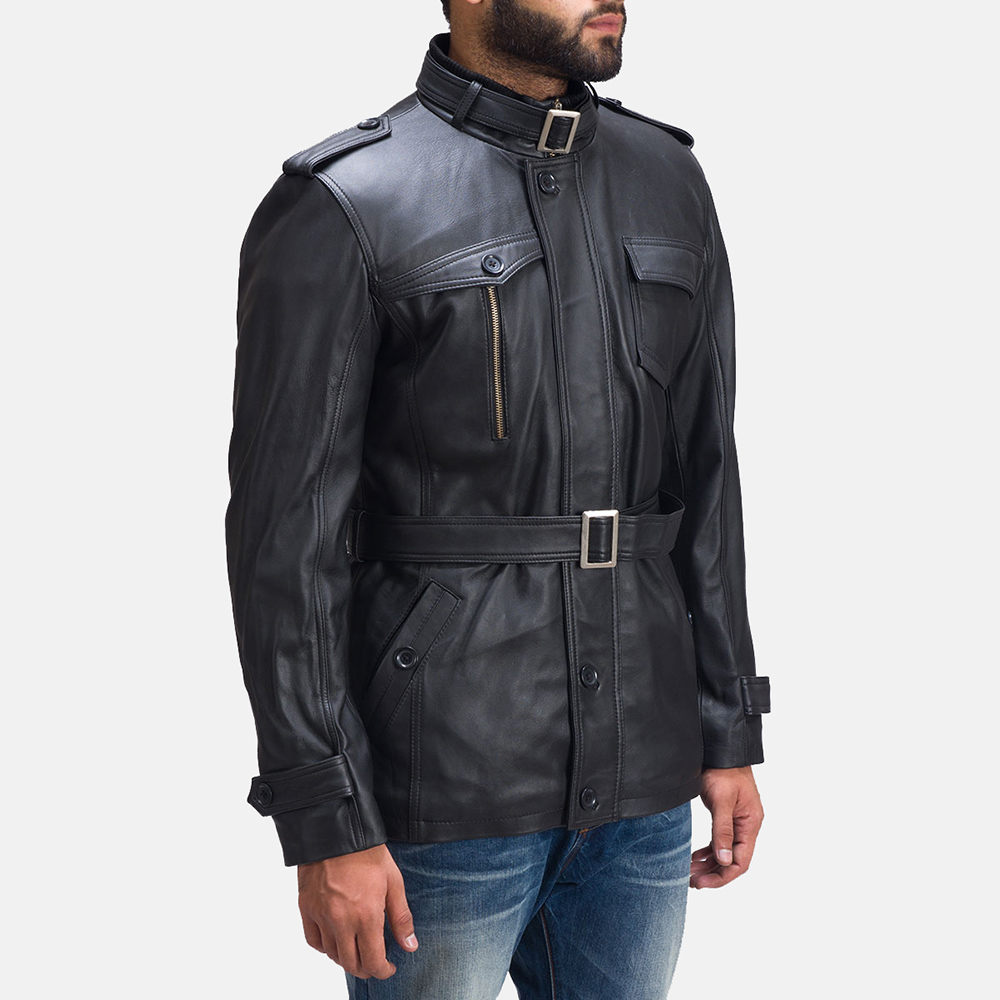 Mens Hunter Black Leather Jacket 2