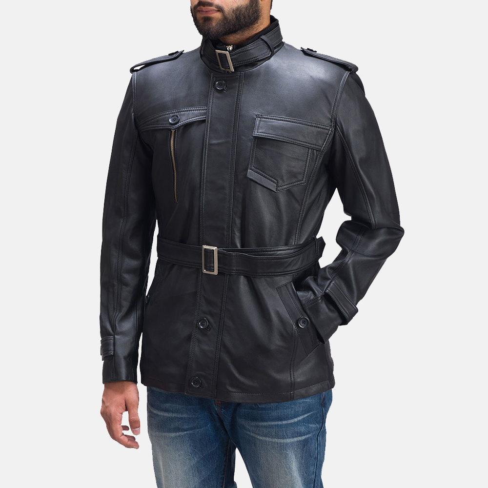 Mens Hunter Black Leather Jacket 5