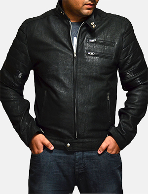 Mens Monza Distressed Suede Biker Jacket
