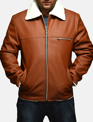 Mens Dan Frost Tan Shearling Jacket