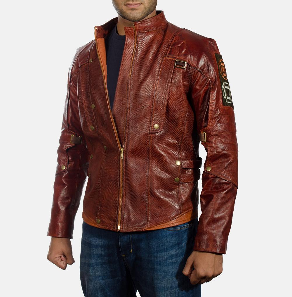 Mens Mars Maroon Leather Jacket 2
