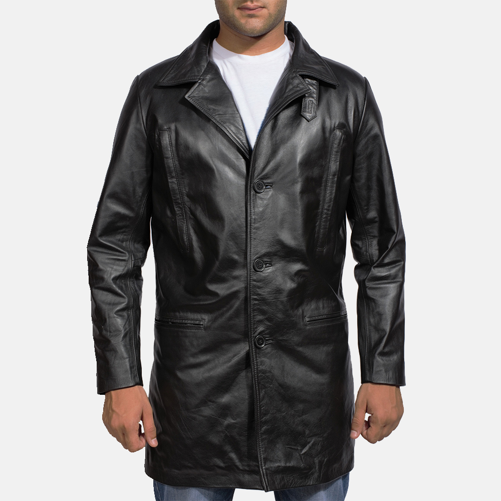Mens Alan Black Leather Coat 1