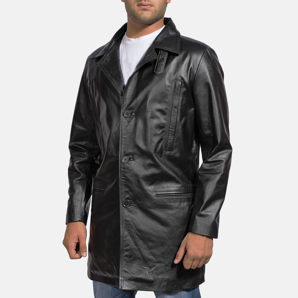 Mens Alan Black Leather Coat 4