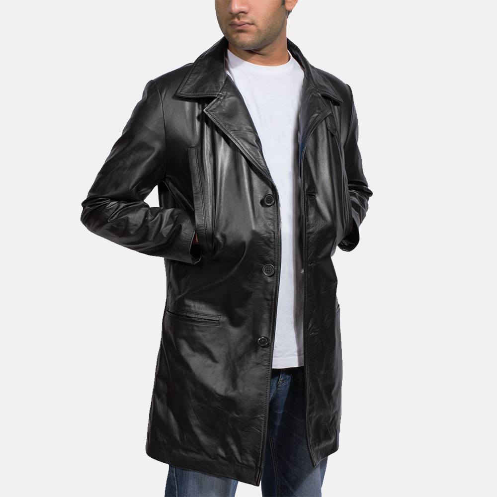 Mens Alan Black Leather Coat 2