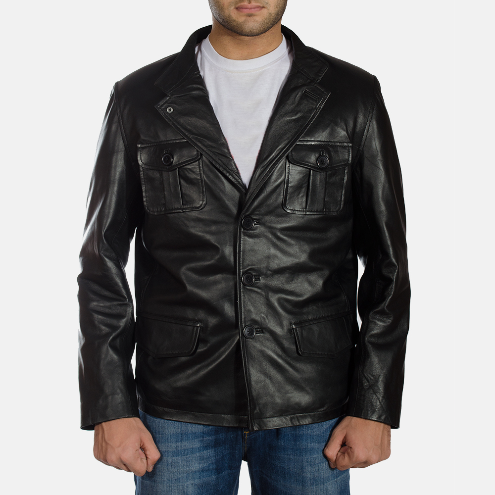 Mens Ray Cutler Black Leather Blazer 1