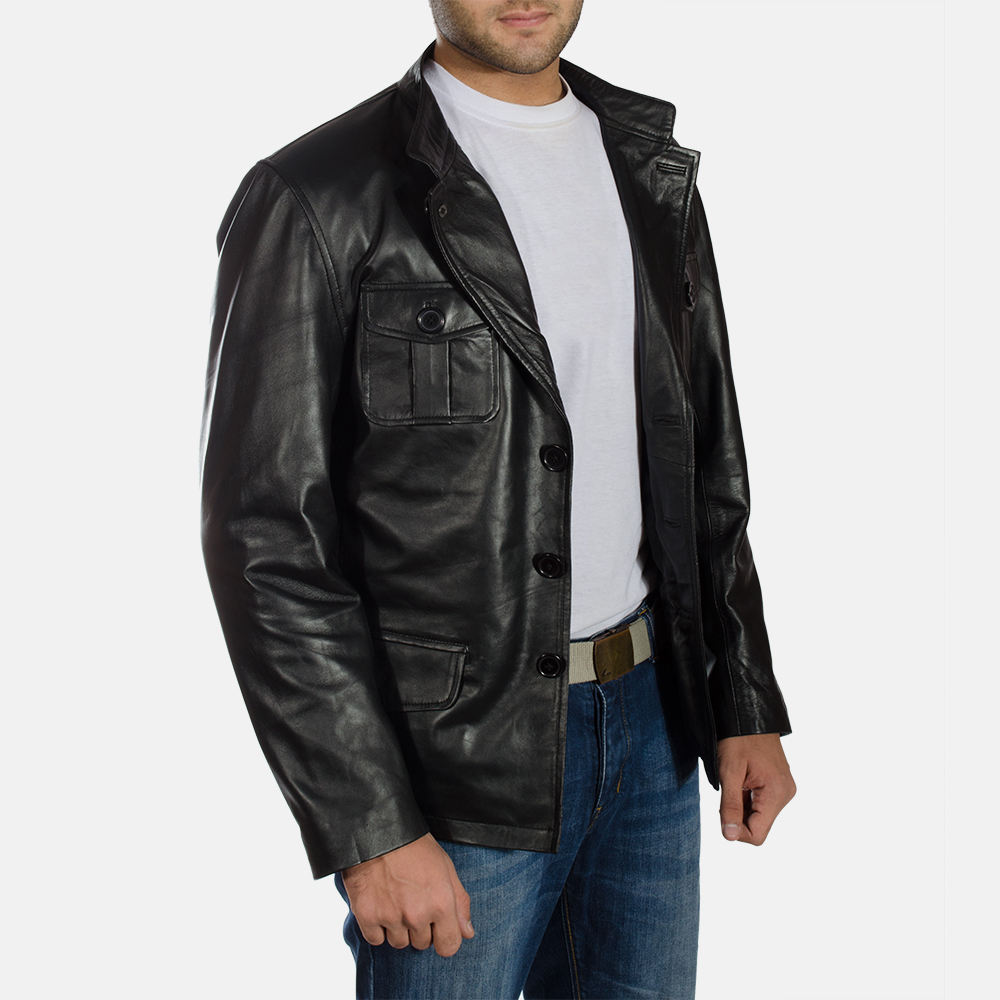 Mens Ray Cutler Black Leather Blazer 2