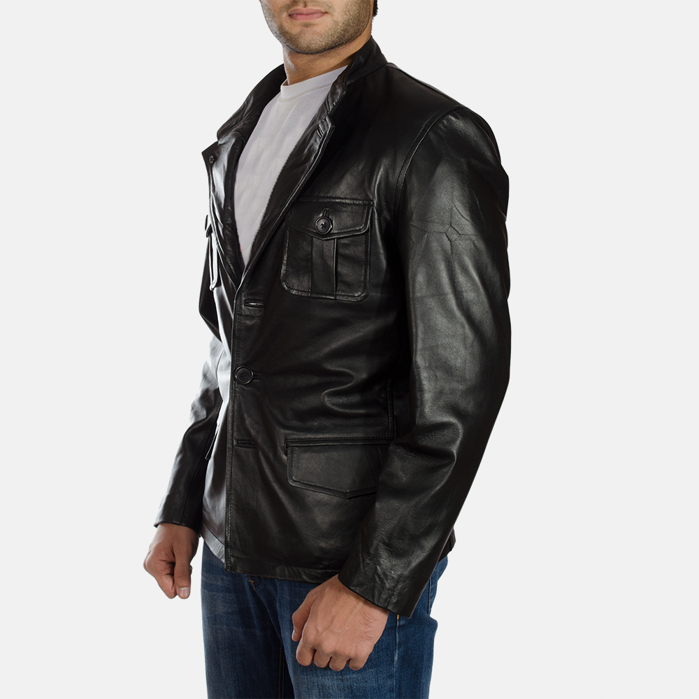 Mens Ray Cutler Black Leather Blazer 5