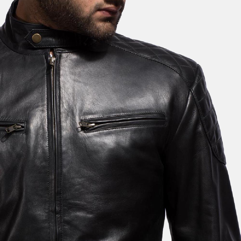 2fb0131bdb8 Mens Sven Black Leather Bomber Jacket 3