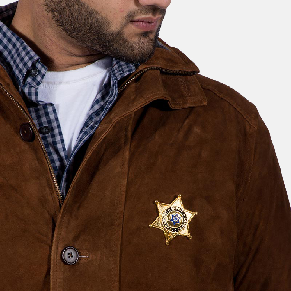 Mens Sheriff Brown Suede Jacket 2