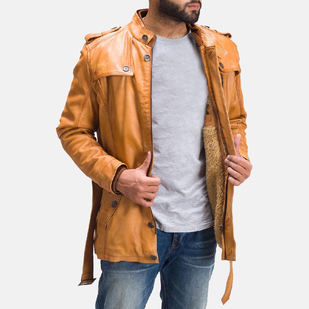 Mens Hunter Tan Brown Fur Leather Jacket 2