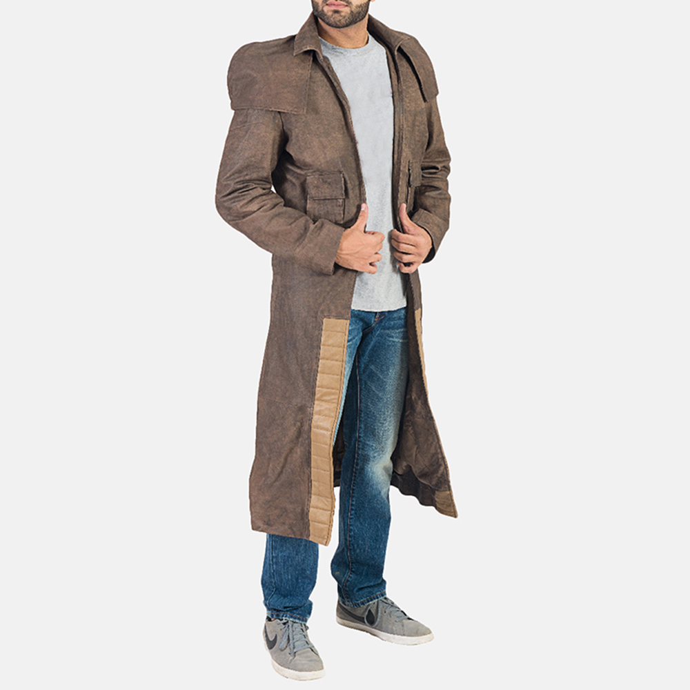 Mens Original Brown Leather Duster 2