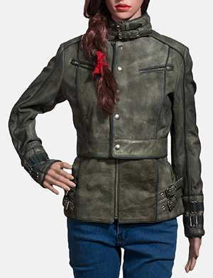 Womens Enchantment Green Leather Jacket