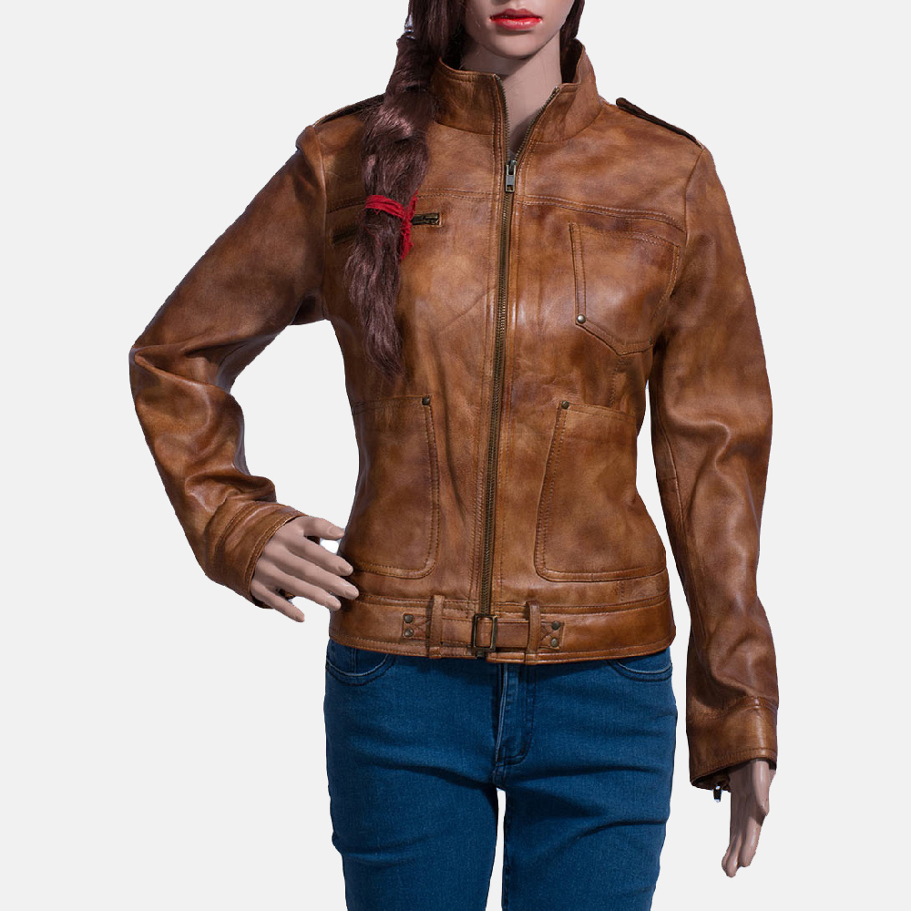 Womens Ethereal Brown Leather Biker Jacket 1